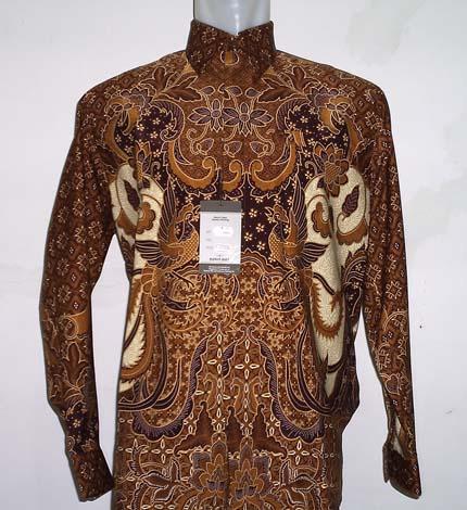 Baju Batik Batik Abstrak Corak Cokelat dengan side Kuni
