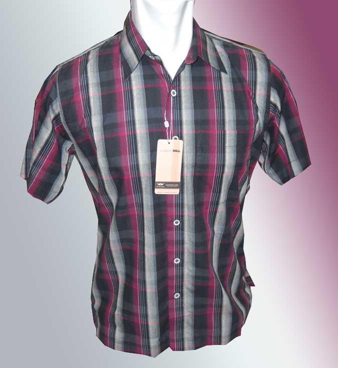 Baju Batik Hem Pria Motif Mirror Garis Hitam Merah Strip