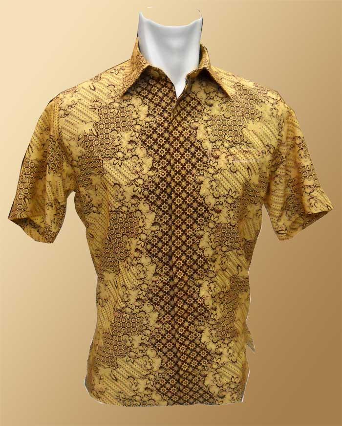 Baju Batik Batik Lengan Pendek Motif Emas Cerah Gelap