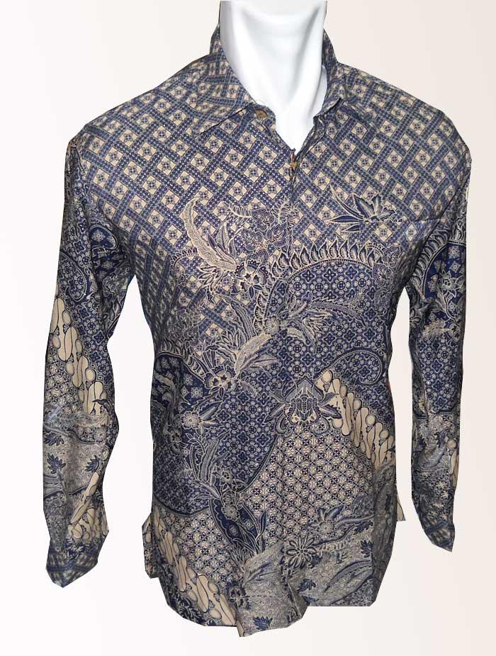 Batik Pria Lengan Panjang Motif Tetanaman Kombinasi Diagonal Warna ...