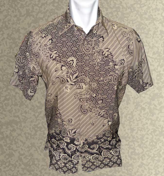 7090pria baju batik background warna coklat halus motif maze bunga