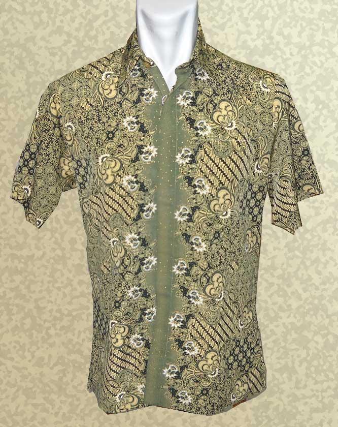 Baju Batik Baju Batik Pendek Warna Hijau Klassik Mirror