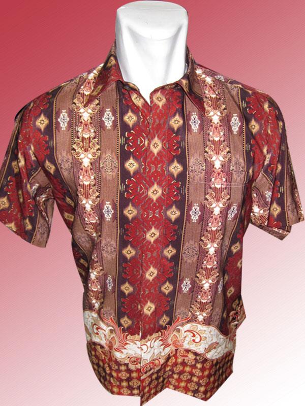 Baju Batik Batik Lengan Pendek Motif Salur Modifikasi