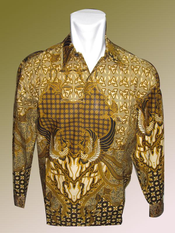 Baju Batik Katun Background Keemasan Motif Phonix