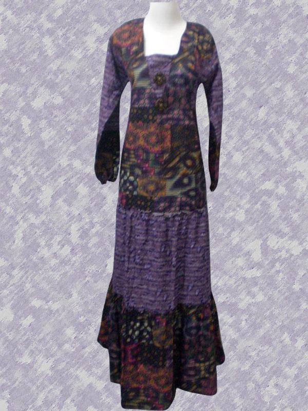 Busana Muslim Batik Kombinasi Baju Batik Gaun Batik Wanita