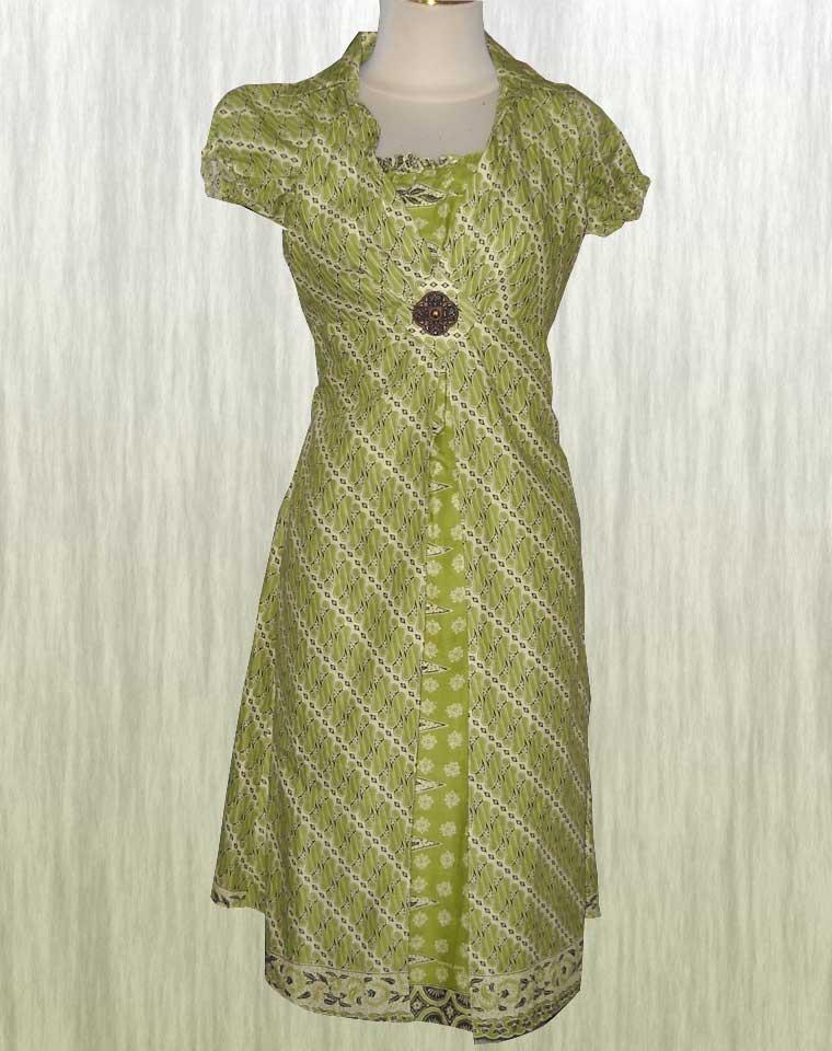 Baju Batik Long Dress Baju Terusan Modern Fashion Dominan Hijau Alam Batik Indonesia Modern