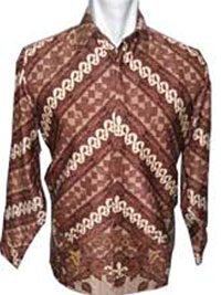 'baju batik motif mega mendung mirror background coklat kuning'