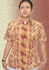 'Batik L Pendek Background Coklat Lembut Corak Mirror'